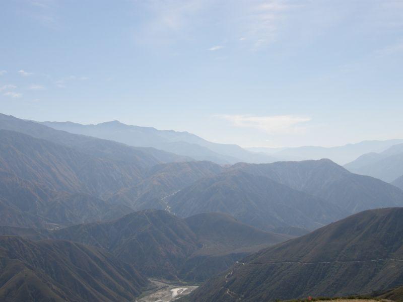 Pohled na hory poblíž Chicamocha - Kolumbie