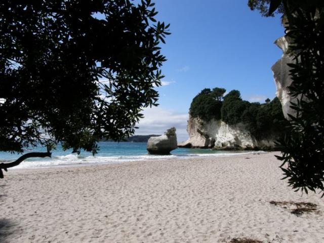 Jedna z pláží na Cathedral Cove - Nový Zéland