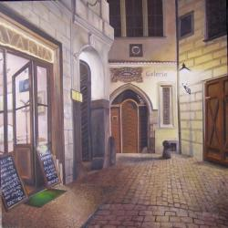 Cafe in the night street, Prague - oil painting