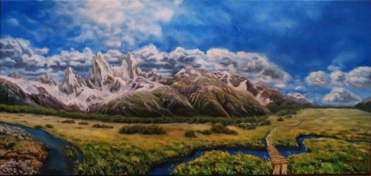 Patagonian landscape, Fitz Roy - oil painting