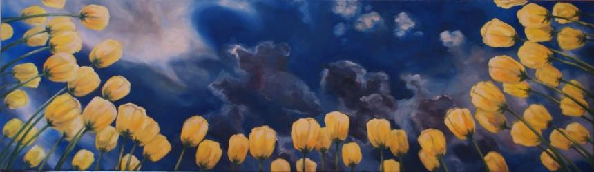 When you lie in the tulips right before the storm - oil painting