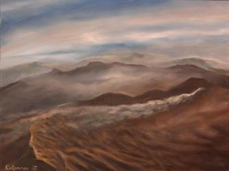 Dawn is creeping in the crater of a smoking volcano, Java, airplane view - oil painting