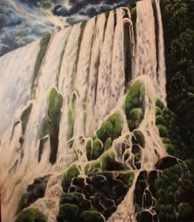Storm is coming on Iguazu falls - oil painting