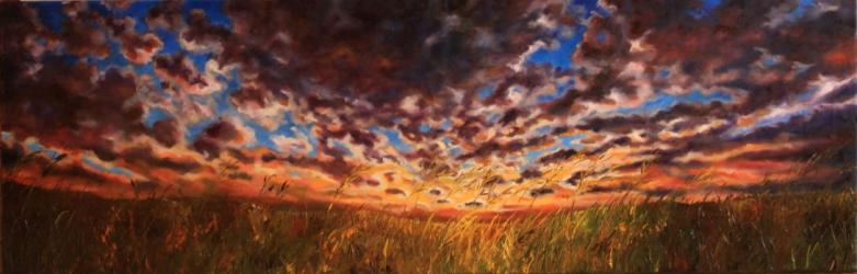 Sunset over a meadow - oil painting