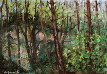 A rock in the woods, summer impression study - oil painting