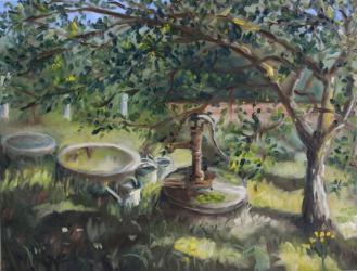 Water well at the garden of my mother - oil painting