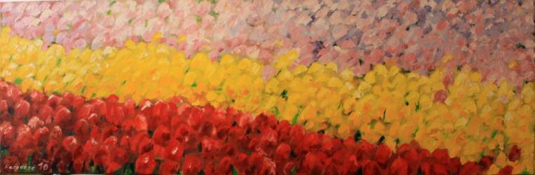 Letní tulipánový sen - olejomalba, obraz