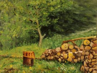 Heap of wood and a broiler, Bukovice - oil painting