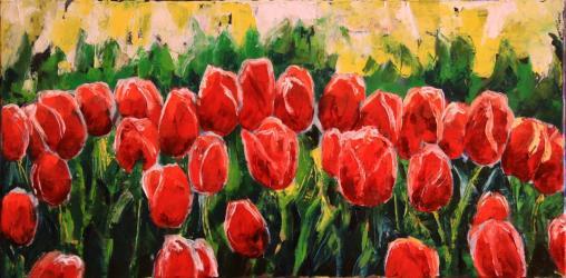 Tulipány, studie špachtlí - olejomalba, obraz