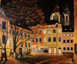 Night square in Prague - oil painting