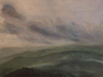 Rainy day at Šumava - oil painting