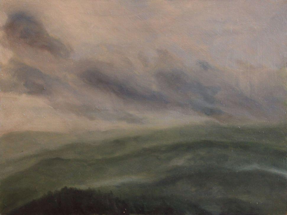 Oil painting - Rainy day at Šumava
