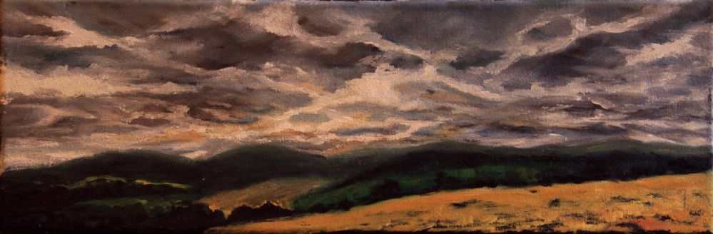 Oil painting - Storm over August landscape, Šumava