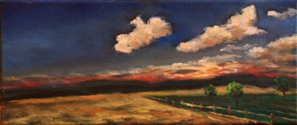 Pozdní odpoledne nad Dolejším Těšovem - olejomalba, obraz