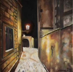 Snow-covered street under street lamp - oil painting