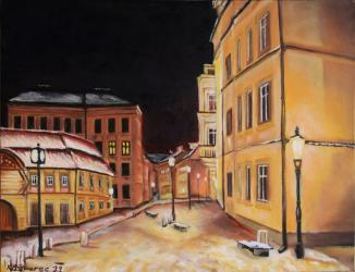 Betlémské square at February freezing night - oil painting