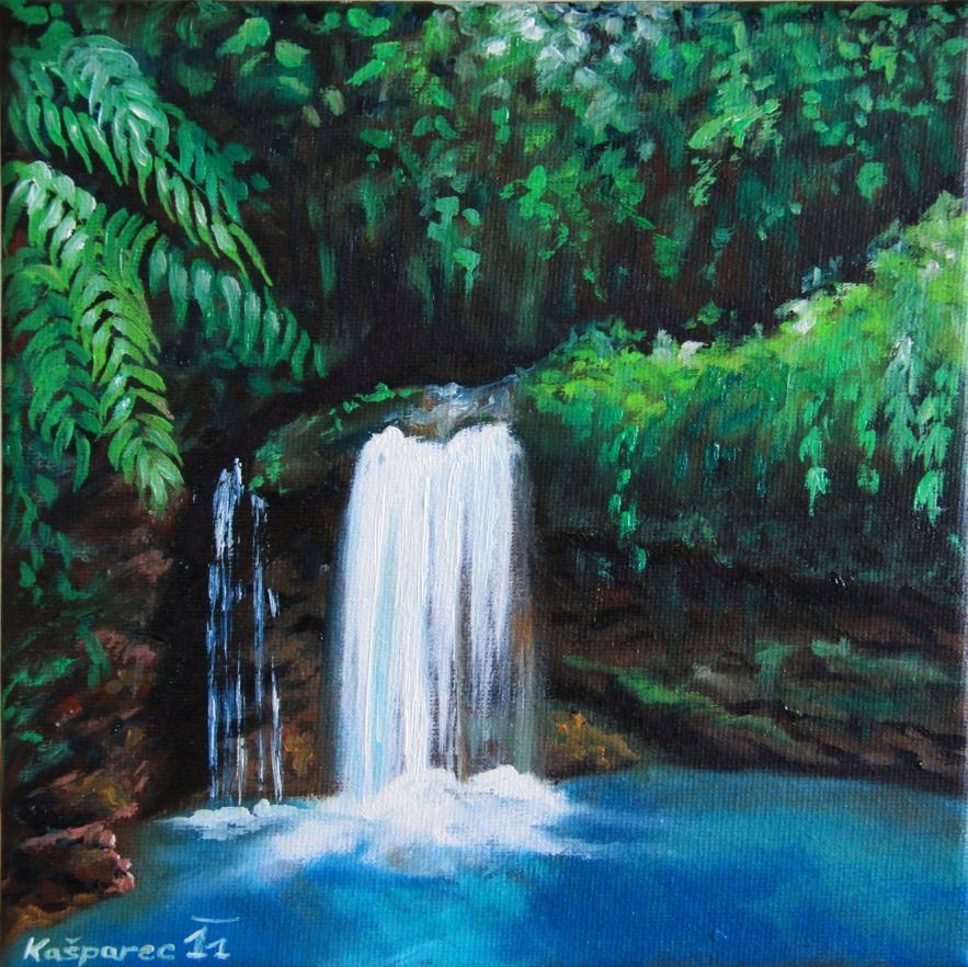 Oil painting - Jungle waterfall study