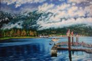 Coal Harbour view of Noth Vancouver - oil painting