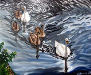 Swans I - oil painting