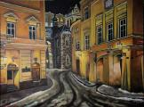 Uhelný trh on cold February night - oil painting