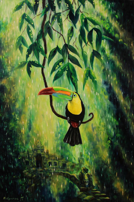 Oil painting - Toucan and secret Jungle temple