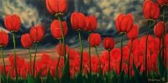 Tulipány čekající na déšť - olejomalba, obraz