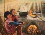 Nepálské sestřičky z Tonglu - olejomalba, obraz