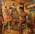 Nahý malíř - olejomalba, obraz