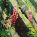 "Detail of the painting ""Humming birds"" - oil painting"