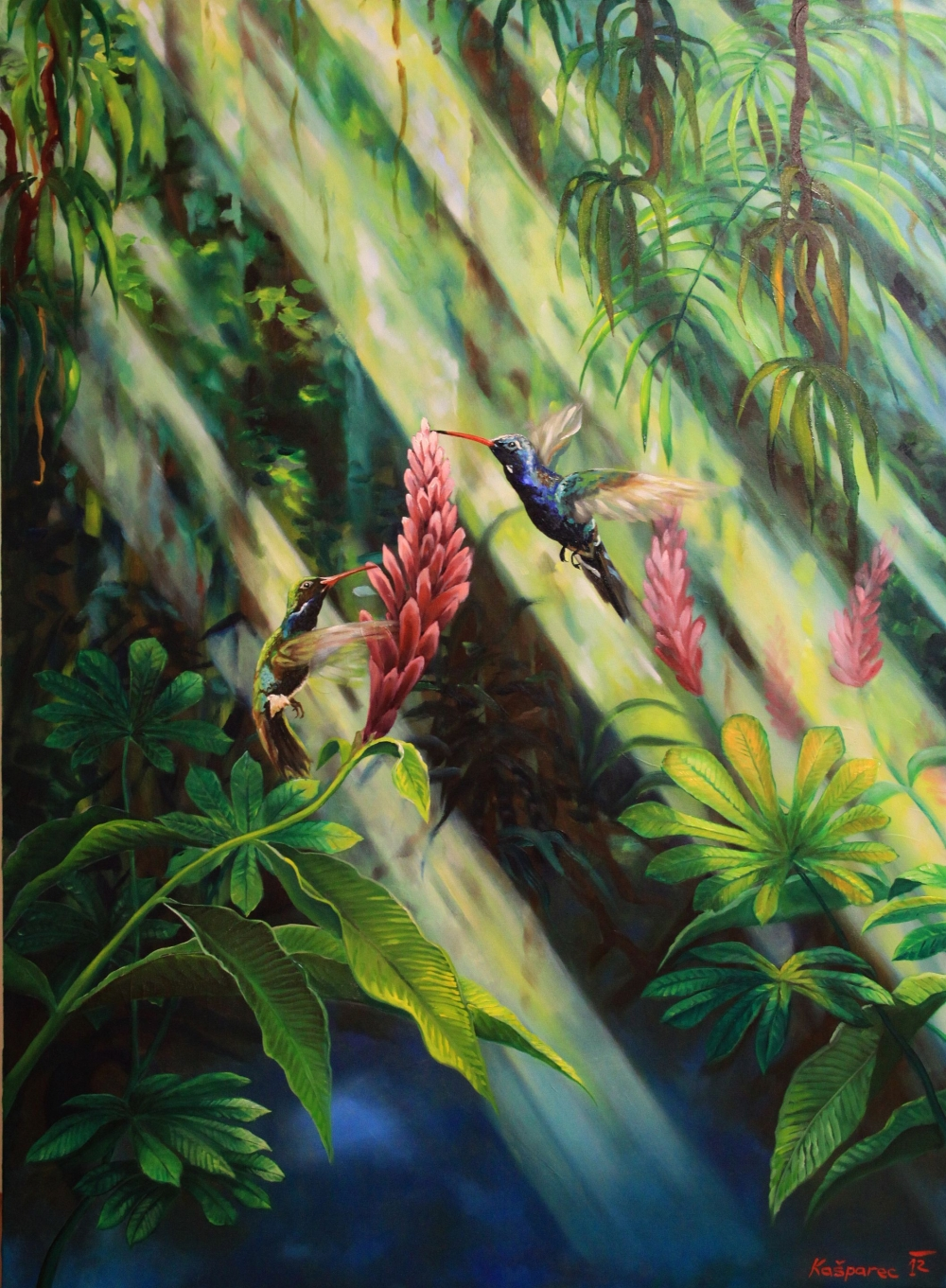 Oil painting - Humming birds