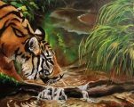 Drinking tiger - oil painting