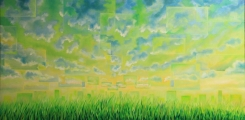 Square sky - oil painting