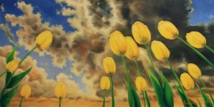 Defying tulips - oil painting