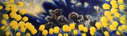 When you lie down in tulips before the storm II - oil painting