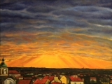 Sunrays over Prague, seen from Parukarka - oil painting