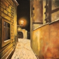 Snowy street under a lamp - oil painting