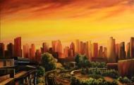 Krajina velkoměsta - olejomalba, obraz