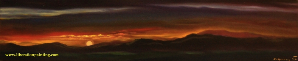 Oil painting - Sunset over the mountains I