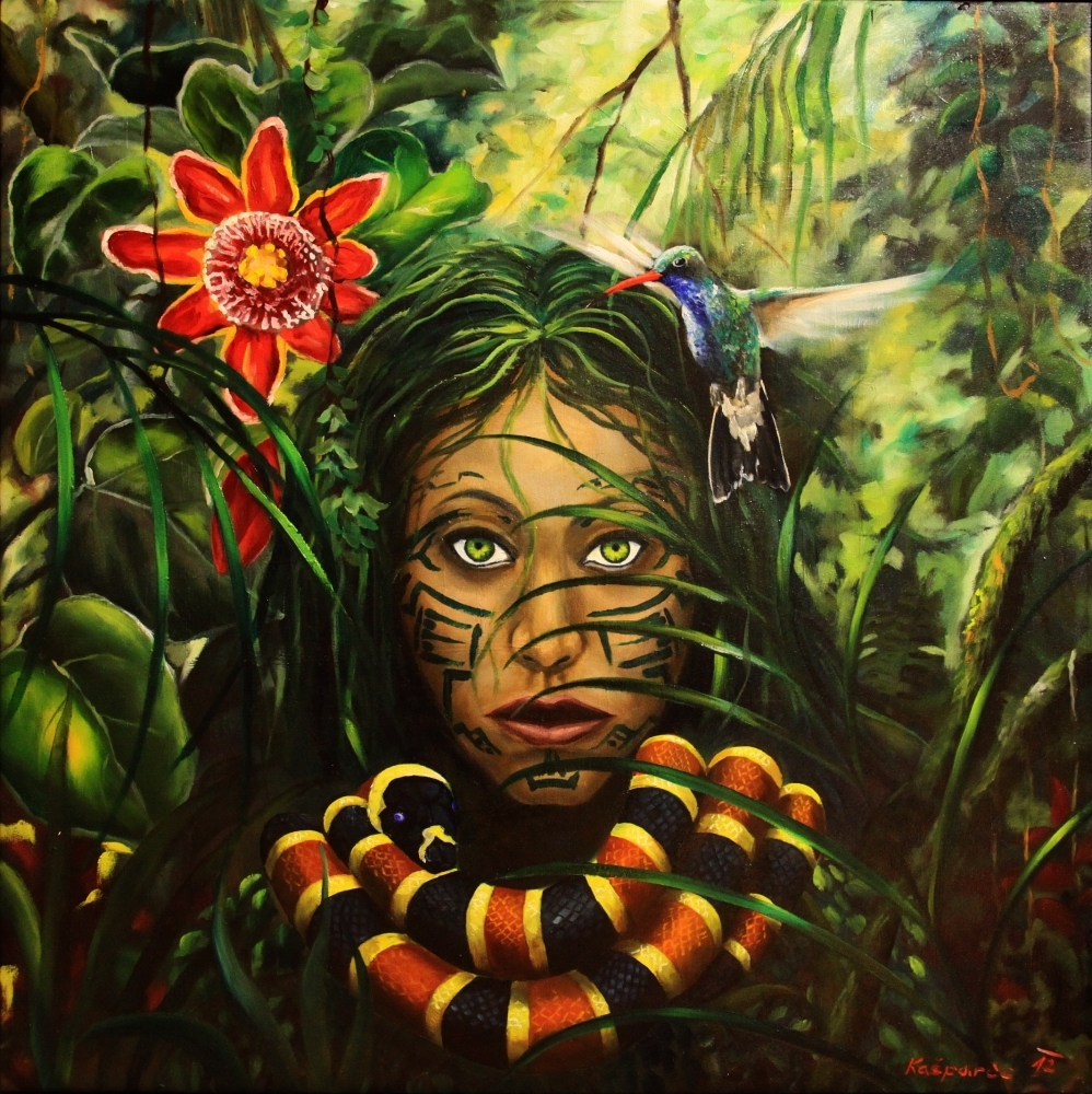 Oil painting - The jungle is watching II
