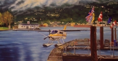 Coal Harbour II, detail of the airplane - oil painting