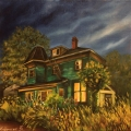 House near Strathcona park, Vancouver BC - oil painting