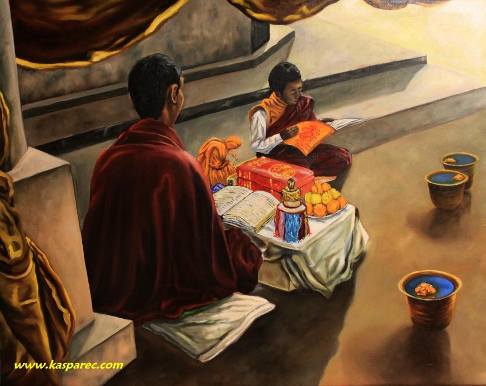 Oil painting - Monks from Bodhgaya