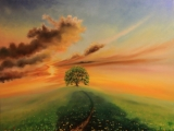 Tree at the end of the Path - oil painting