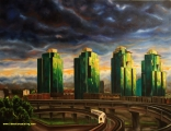 Expo boulevard and Georgia Viaduct - oil painting