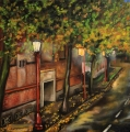 On the way to China Town - oil painting
