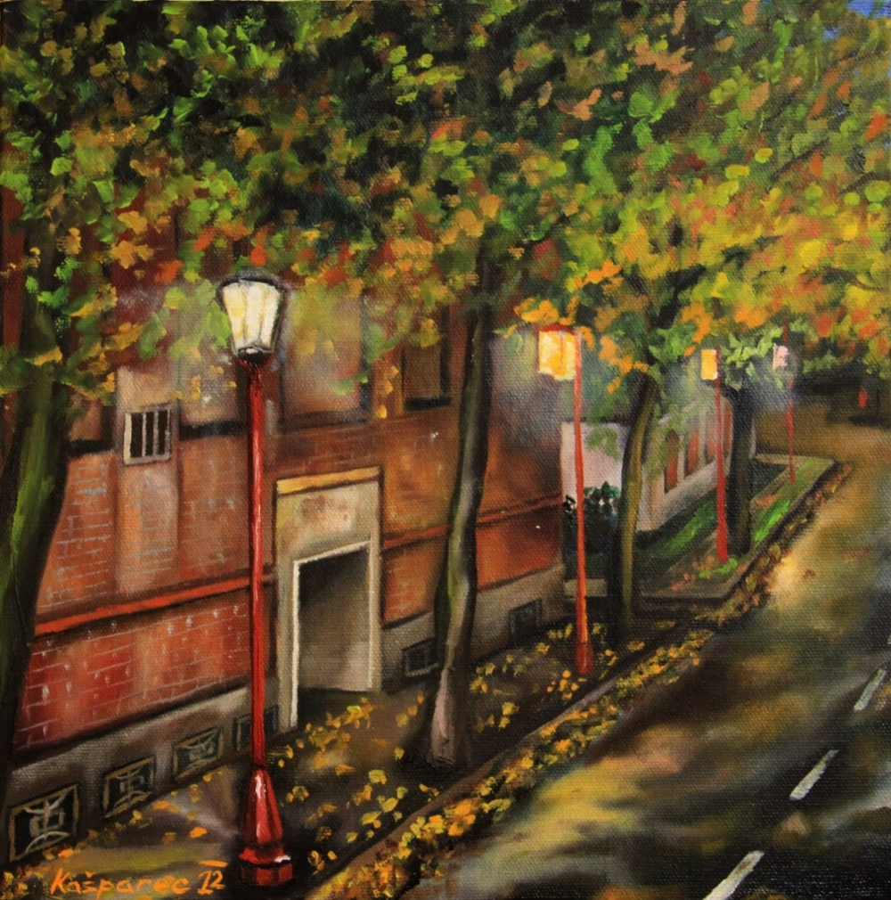 Oil painting - On the way to China Town