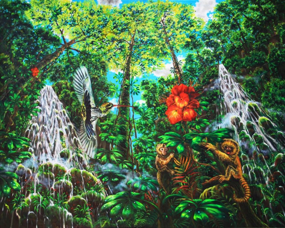 Oil painting - Monkey paradise