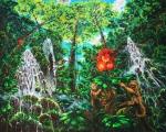 Ráj opic - olejomalba, obraz