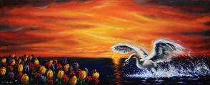 Přistání v nebi - olejomalba, obraz