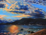 Third beach sunset with West Vancouver view - oil painting